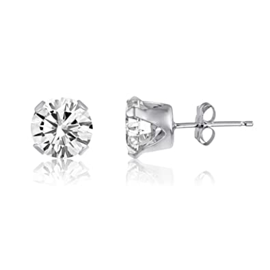9c6ad3d1bdd98 Sterling Silver Round CZ Stud Earrings