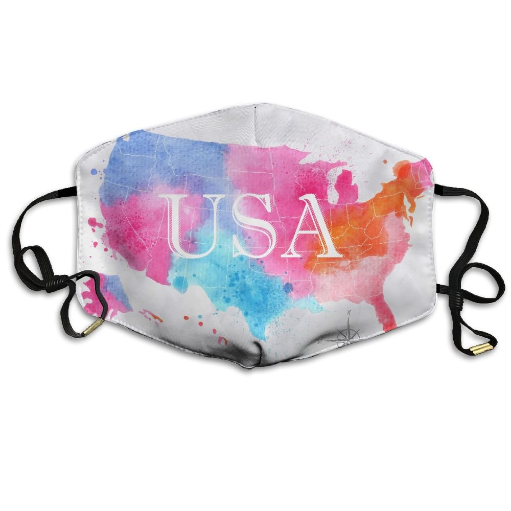 HBLSHISHUAIGE Watercolor Map of USA Unisex Creative Mouth-Masks Washable Safety 100% Polyester Comfortable Breathable Health Anti-Dust Half Face Masks