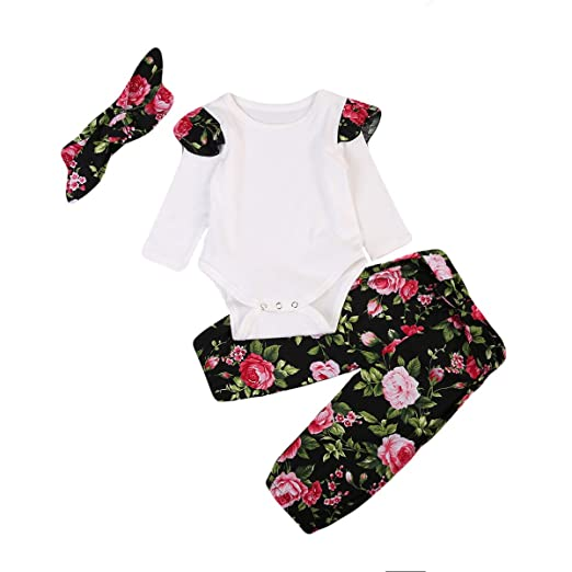 045bc2f1c Amazon.com  Glosun Infant Baby Girl 3pcs Easter Outfits Long Sleeve ...