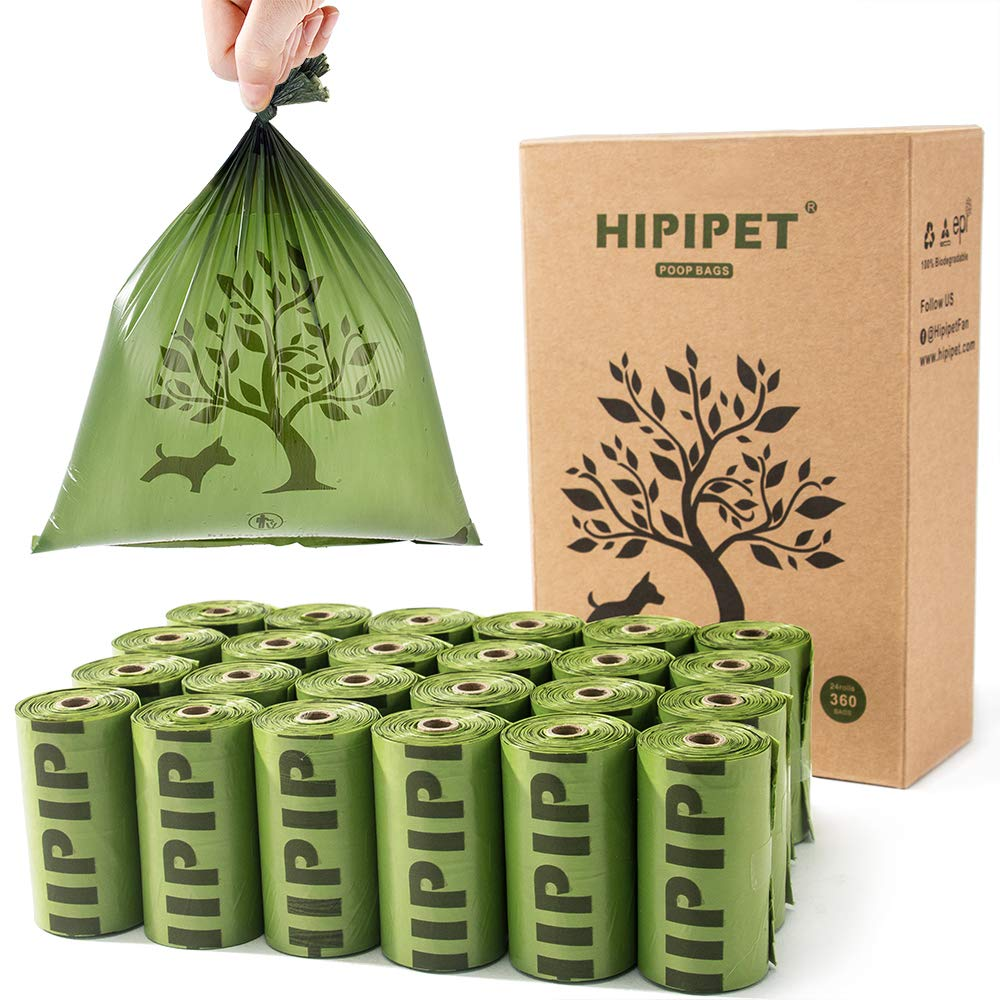 HIPIPET 360 Dog Poop Bags Degradable Waste Bag Earth-Friendly Leak-Proof for Dogs Doggie Cat Pet 24 Rolls, 15 Per Roll, 15% More Thicker and Tougher by HIPIPET