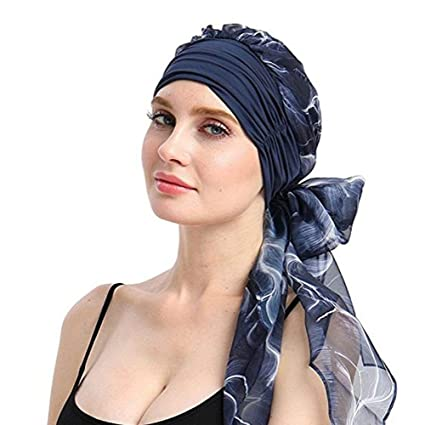 Amazon.com  Wcysin Headwear Turbans for Women Long Hair Head Scarf Head  wraps Cancer Hats (Deep blue)  Arts aba73901a5f