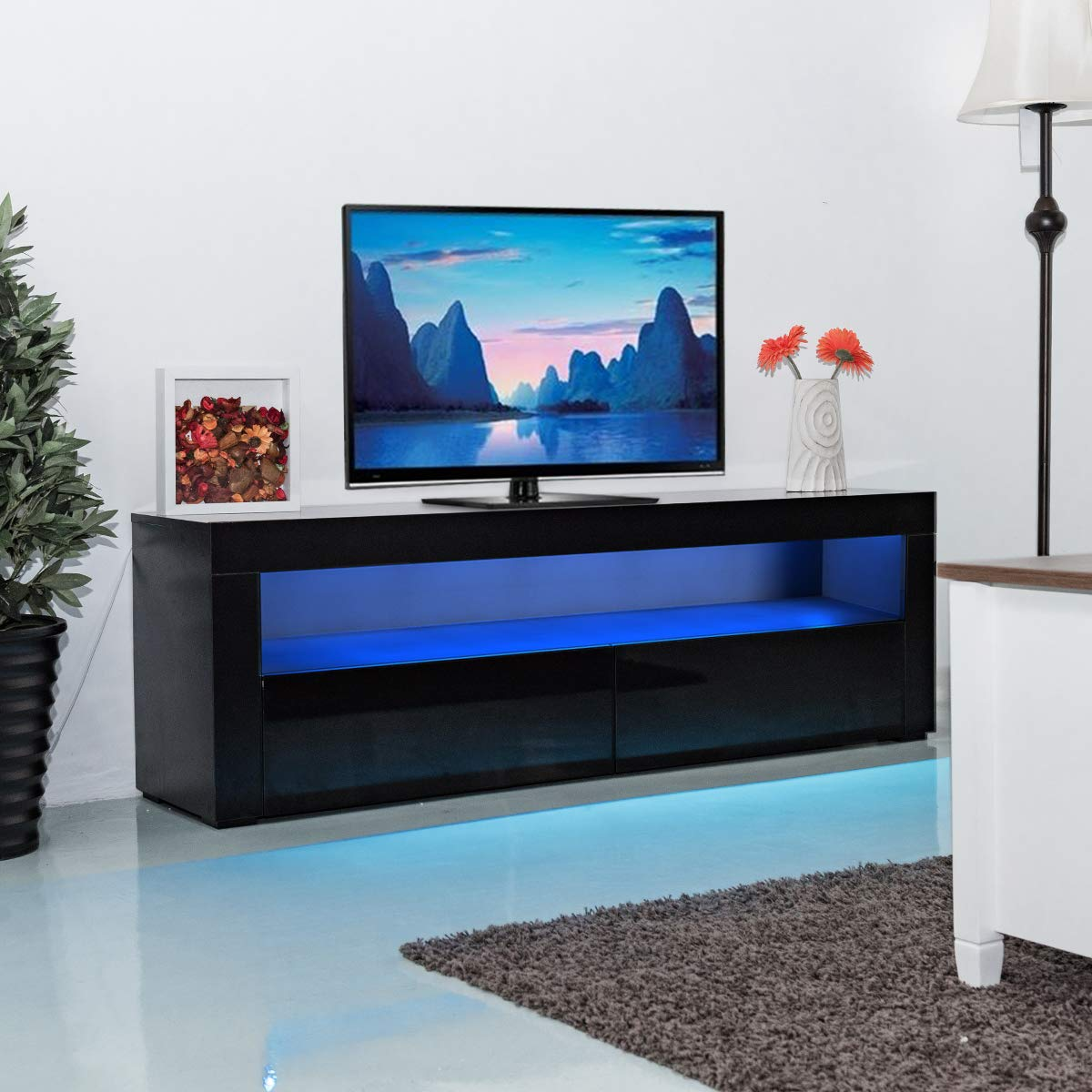 Amazon com tangkula modern tv stand high gloss media console cabinet entertainment center with led shelf and drawers black kitchen dining
