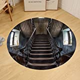 Gzhihine Custom round floor mat Scary Decor Horror Movie Classic Deserted Abandoned Home with Old Vintage Stairs Artwork Bedroom Living Room Dorm Multicolor