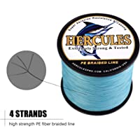 Hercules Cost-effective Super Strong 4 Strands Braided Fishing Line 6LB to 100LB Test for Salt-water, 109 / 328 / 547 / 1094 Yards (100M / 300M / 500M / 1000M), Diameter 0.08MM - 0.55MM, Hi-grade Performance, Variety Colors