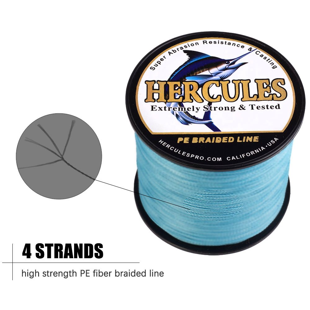 Hercules編組釣りライン300 M 328yds 6lbs-100lbs PE Dyneema Superline 4ストランド B076FNN1WZ 8lb/3.6kg 0.10mm|ブルー ブルー 8lb/3.6kg 0.10mm