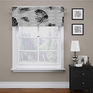 """carmaxs Window Valences Curtains Feather Tailored Scalloped Valance/Swags Faded Geometric Backdrop Nested Squares Mosaic Pattern Fluffy Wings Fly 54"""" x 12"""" Black White Pale Grey"""