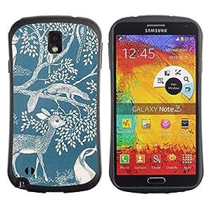 "Hypernova Slim Fit Dual Barniz Protector Caso Case Funda Para Samsung Note 3 [Ciervo Naturaleza Primavera Azul Blanco Mármol""]"