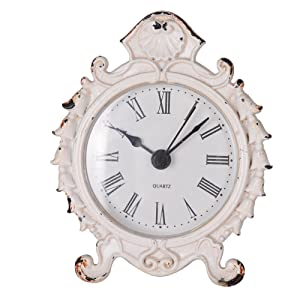 NIKKY HOME Baroque Style Pewter Quartz Round Table Clock 3.12'' by 1.35'' by 3.87'', White