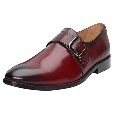 official store newest style info for Brune Burgundy Color 100% Genuine Leather Single Monk Strap Shoes for Men
