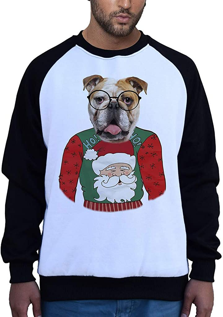 Mens English Bulldog Ugly Sweater B1533 PLY Raglan Sweatshirt