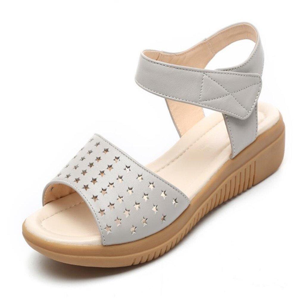 Middle-Aged Sandaleen weiblichen Sommer Mutter Flach mit's Hollow Frauen Schuhe