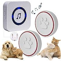 ChunHee Draadloze deurbel voor honden en huisdieren, deurbel met sensor, aanraking, ontvanger, stopcontact, 55 beltonen…