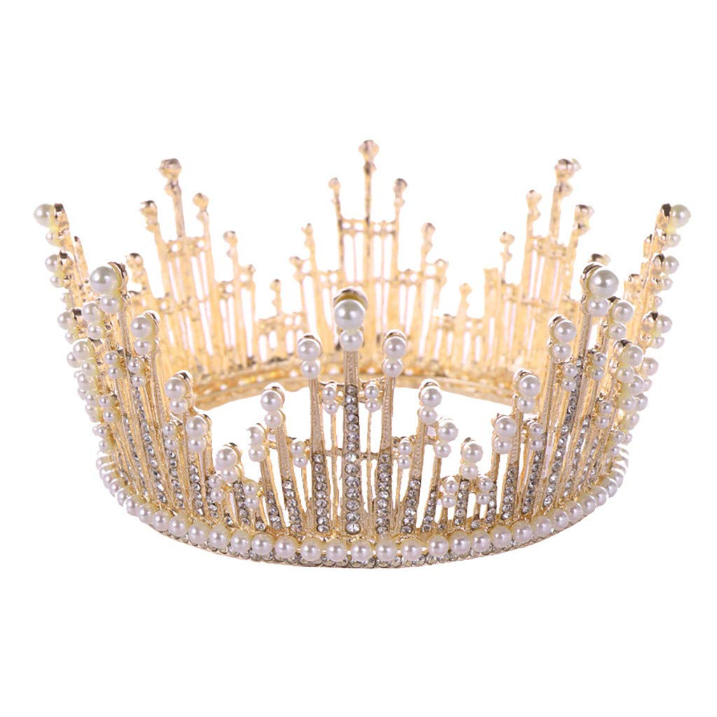 Luxury Elegant Crown Full Diamond Zircon Pearl Tiara Headband Ladie Jewelry Gift,Outsta 2019 Fashion Jewelry Hot Sale!Under 10 Dollars Gifts for Her