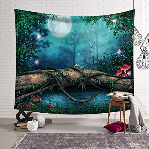 Fairy Tale Forest Tapestry Fantasy Style Wall Hanging Home Decoration for Bedroom and Living Room (6, 78Wx59L)