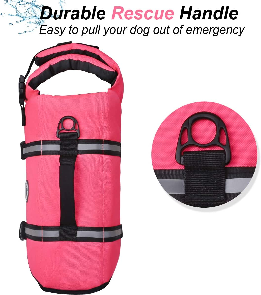 Vivaglory Ripstop Dog Life Jackets Reflective /& Adjustable Preserver Vest with Enhanced Buoyancy /& Rescue Handle for Swimming Boating /& Canoeing