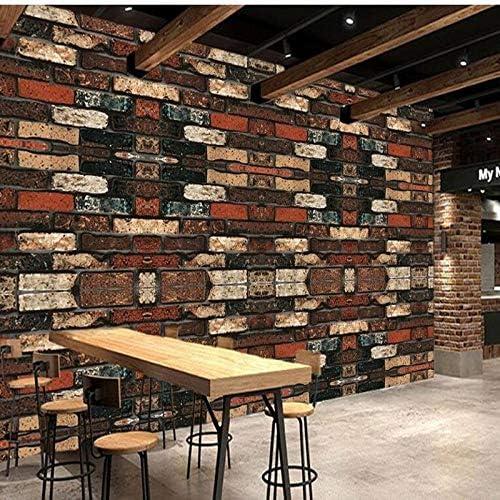 Ljjlm カスタム大フレスコ3Dレトロファッションアンティークノスタルジアレンガ壁レストランバー背景壁不織布壁紙-120X100Cm