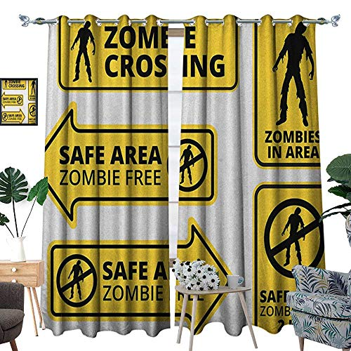 Warm Family Zombie Blackout Window Curtain Safe Area Zombie Free Safe Protection Zone Caution Sign from Horror Movie Design Customized Curtains W120 x L84 Yellow -