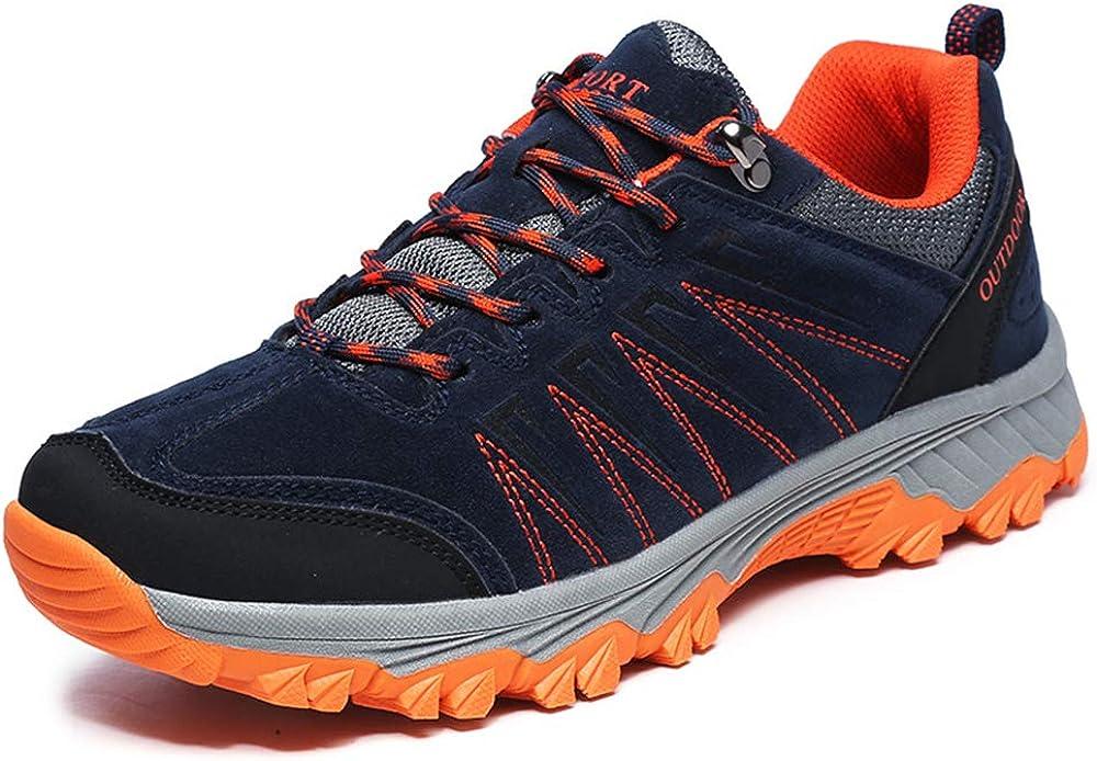 DFEDCLL Senderismo zapatos, antideslizantes grandes zapatos para caminar a campo traviesa Hombres resistentes al desgaste de cuero al aire libre espacio de alta pelado otoño e invierno