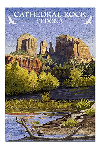 (Sedona, Arizona - Cathedral Rock (Blue Water Version) (20x30 Premium 1000 Piece Jigsaw Puzzle, Made in USA!))