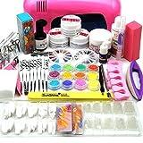 Coscelia 9W UV Lampe Rose Séchoir à Ongles Colle Poudre Acrylique UV Gel Faux Ongles Nail Art Set