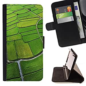 - Nature Field Aerial Green - - Monedero PU titular de la tarjeta de cr????dito de cuero cubierta de la caja de la bolsa FOR HTC DESIRE 816 RetroCandy