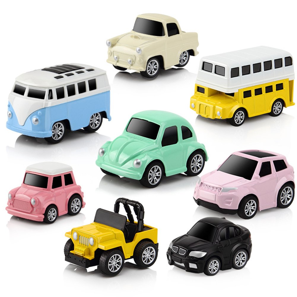 Purebesi Puzzle Racing Car Children's Toy Car Pull-Back Vehicle Alloy Puzzle Q Version Mini Car Model For 3 -14 Year Old 8 PCS/ Box