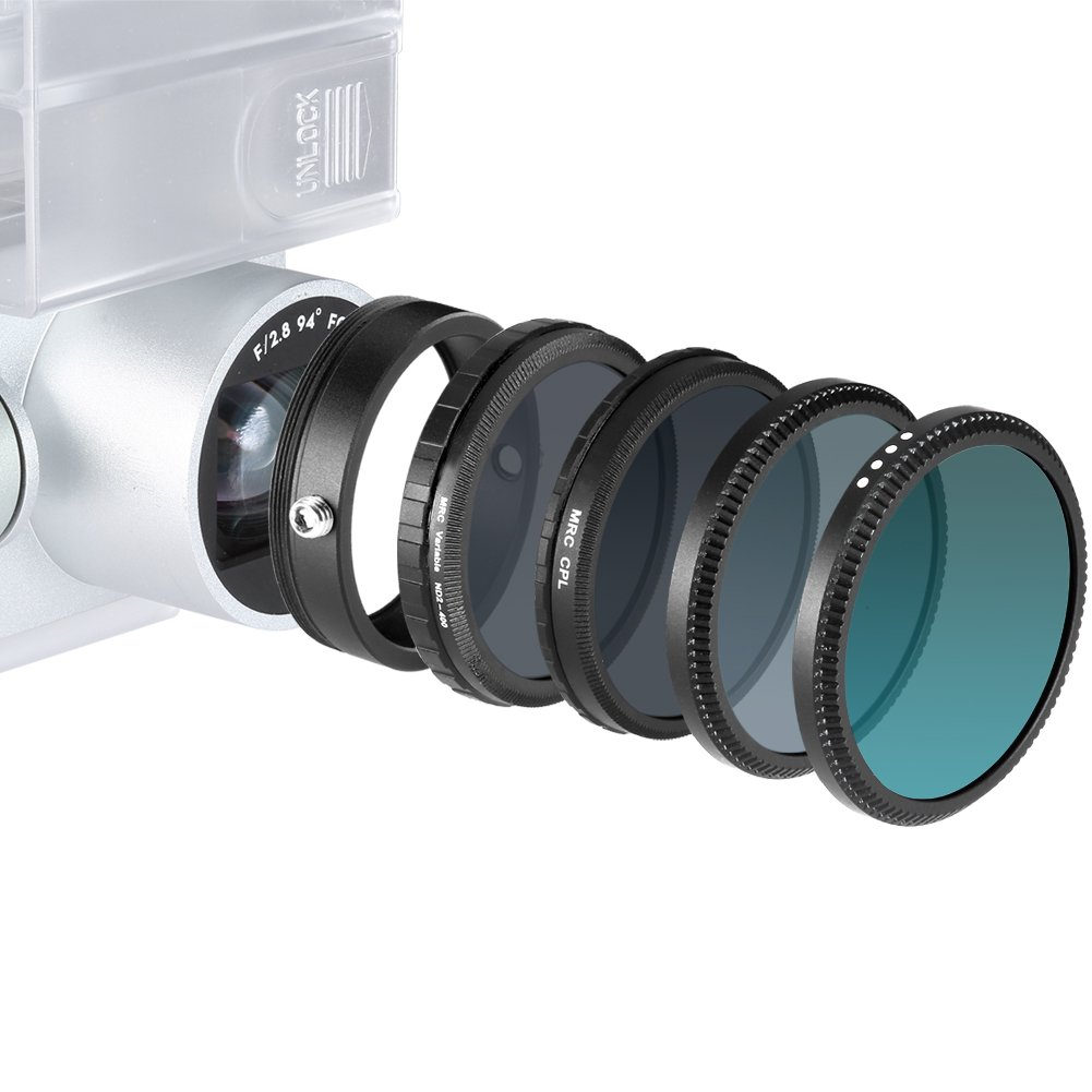 Neewer® for DJI Phantom 3 Standard Multi-coated 4 Pieces Fliters and 1 Adapter Ring Kit includes: UV Filter+CPL Filter+ND16 Filter+ND Fader Adjustable Filter ND2-ND400+Adapter Ring
