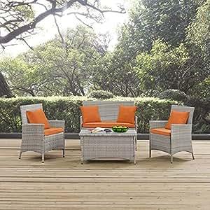 Modway EEI-2763-LGR-ORA Outdoor Patio Conversation Set Pillow, Orange, Light Gray Orange