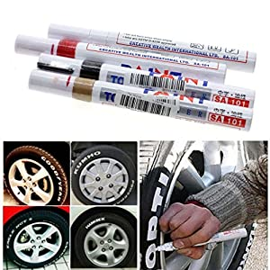 HuaYang 3Pcs Car Auto Vehicle Motorcycle Tyre Tire Wheel Decor Paint Marker Pens (Color: Red
