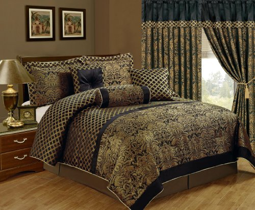 Chezmoi Collection 7-Piece Lisbon Jacquard Floral Comforter Set, California King, Black/Gold  jacquard bedding set 7 pieces | Northern Nights Jacquard Reversible 6 or 7 Piece Comforter Set on QVC 61oS8BC 1AL