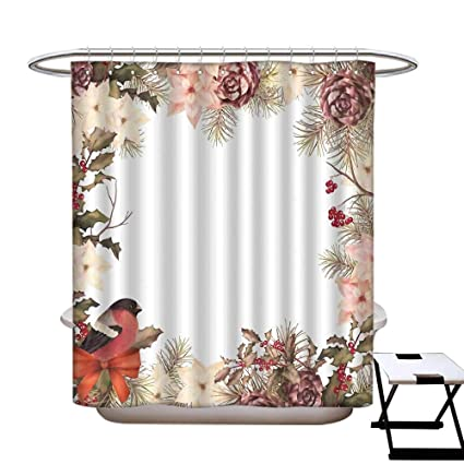 New Year Mildew Resistant Shower Curtain Liner Eurasian Bullfinch Motif With Cedar Branch Holly Berries Vintage