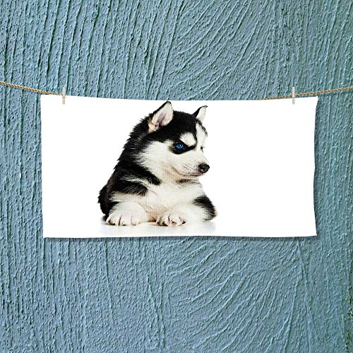 vanfanhome Photo Or Text Image DIY Personalized Custom Towels/Hand Towel Acrylic for Beach, Pool or Bath! Unisex towels!(Cute husky puppy)