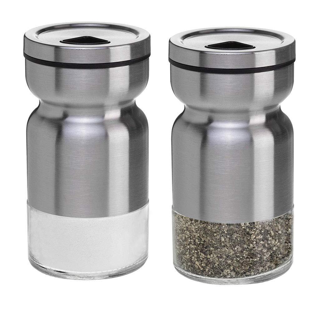 Pepper Shaker,Salt and Pepper Shakers Set Practical Stainless Steel Dredge Salt Superior Seasoning Cans Elegant Salt Pepper Dispenser Adjustable Pour Holes Stainless Steel(Set Of 2 ) by Daly