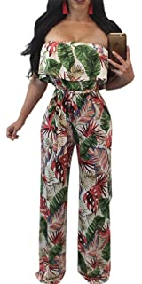 19690b276c37 Aro Lora Women s Off Shoulder Floral Printed Cropped Wide Leg Jumpsuits  Rompers