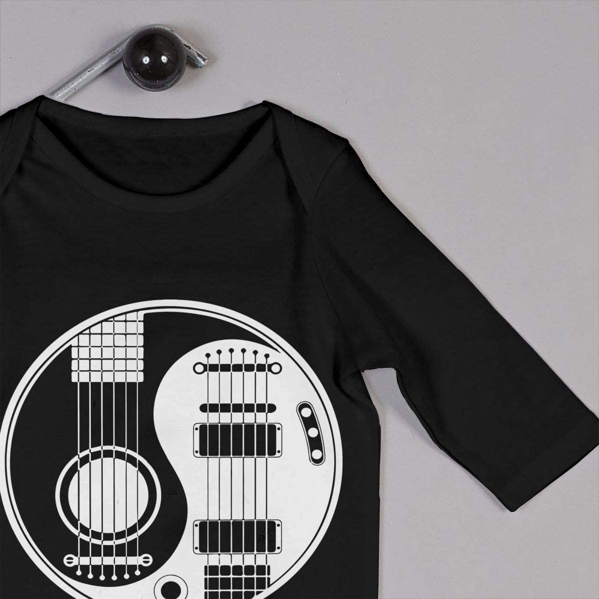White and Black Acoustic Electric Guitars Yin Yang-1 Printed Boys Girls One-Piece Suit Long Sleeve Rompers Black