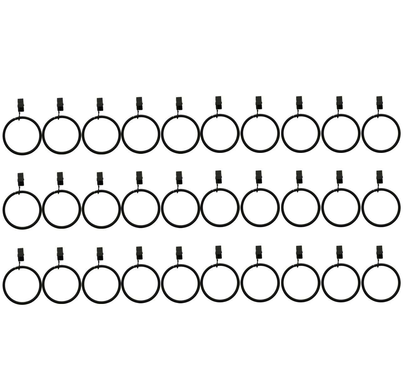 Saim Metal Drapery Curtain Clips With Rings 2'' Interior Diameter, Pack of 30