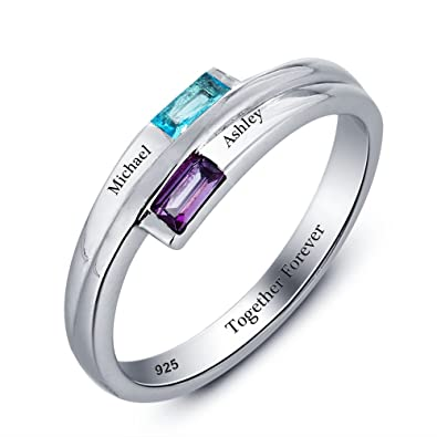Amazon Com Lover Promise Rings Personalized Engraved 2 Names
