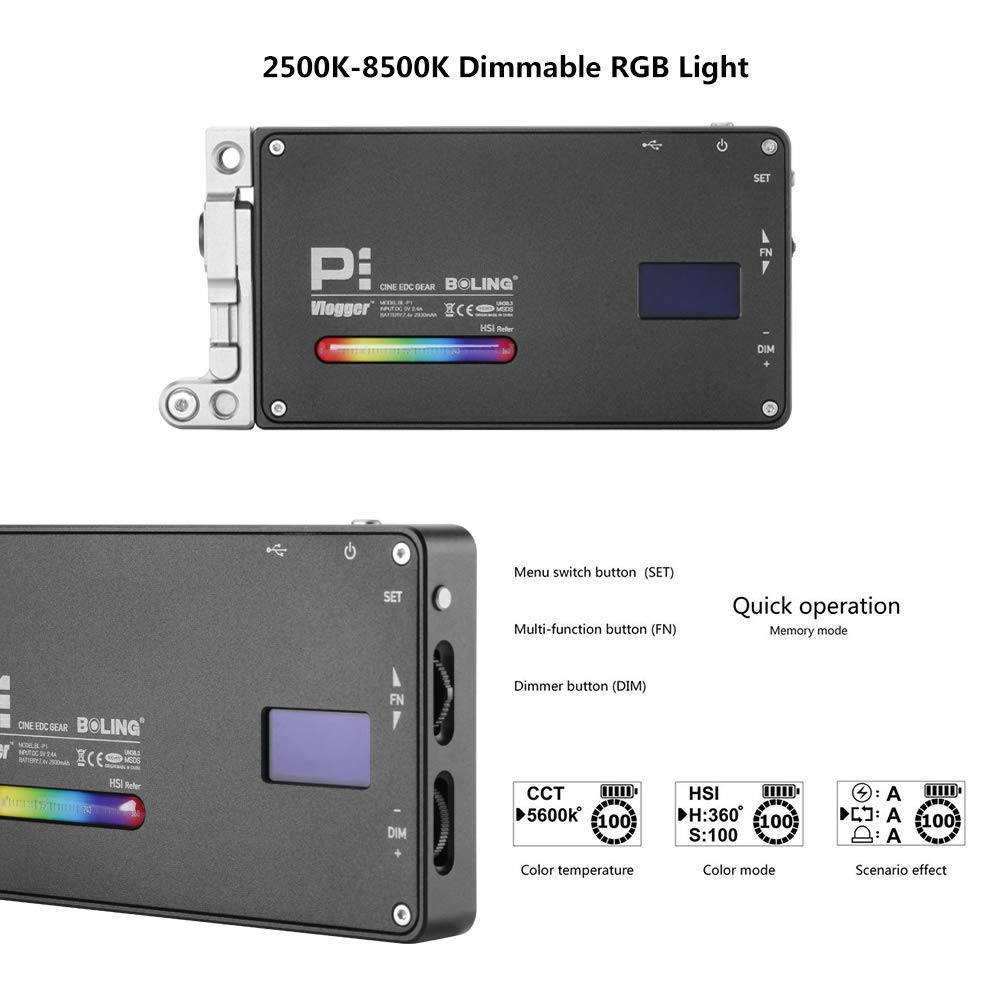 Boling BL-P1 12W RGB Full Color Dimmable 2500-8500K On-Camera Led Video Light with OLED Screen, 360° Support System by Vitopal (Image #3)