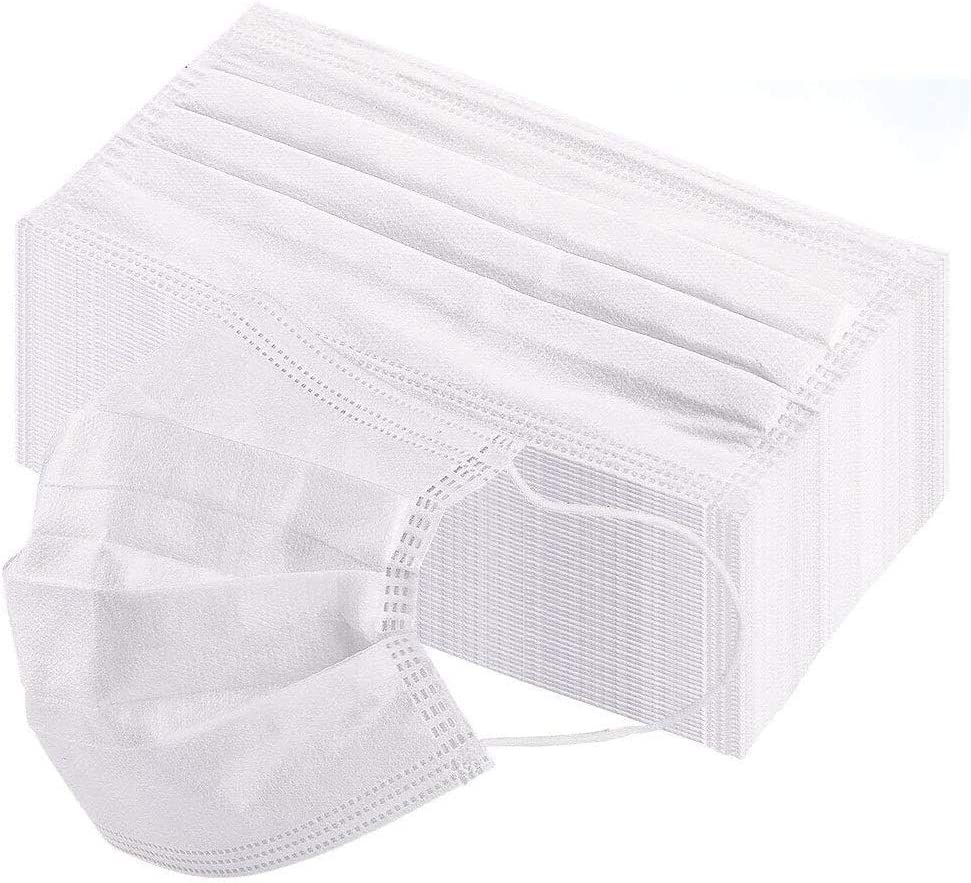 100 Pcs Disposable Protective white Face Protection 3 Layer Filter Mouth Face Anti-Dust Anti-Fog Earloop