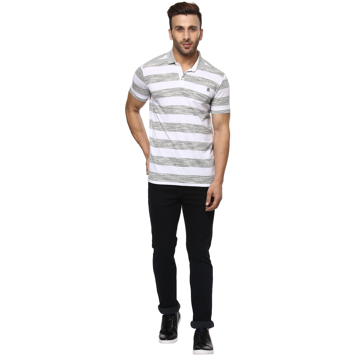 b045978c Mufti Polo Stripes Half Sleeves T-Shirt: Amazon.in: Clothing & Accessories
