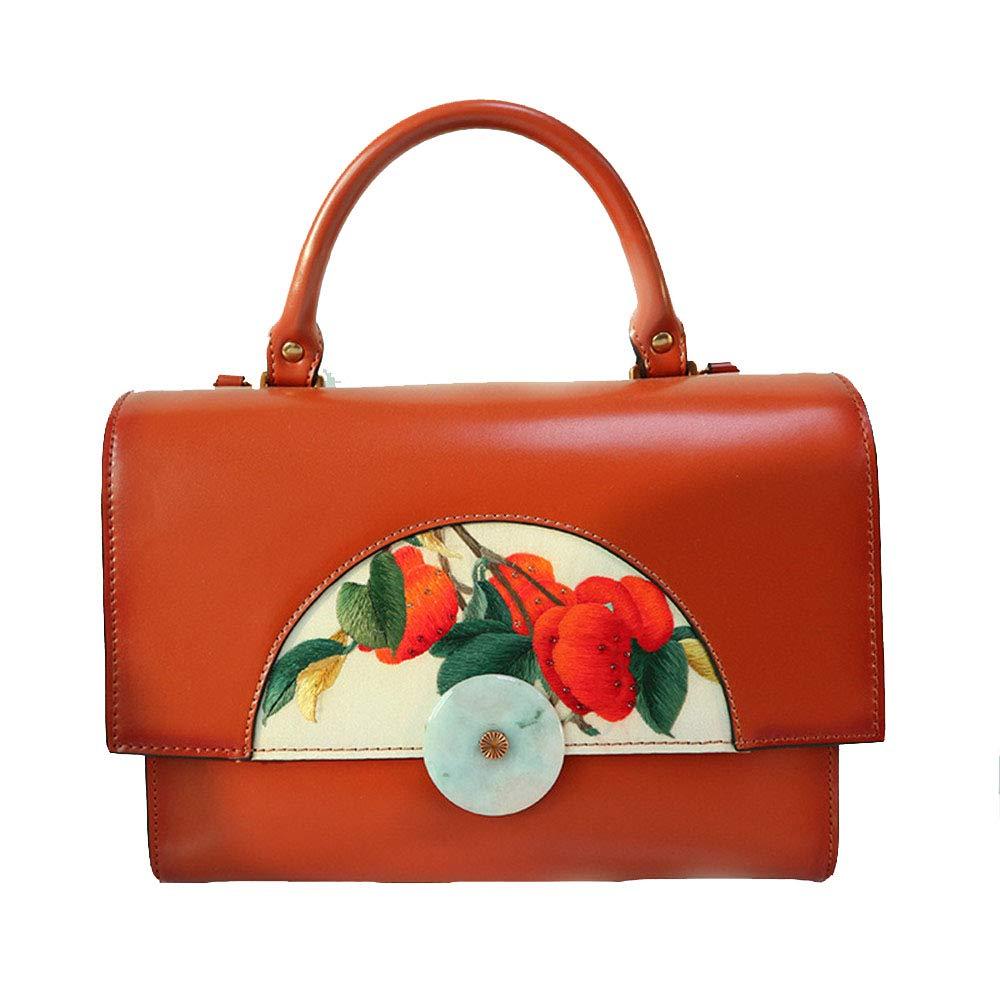 Maletín para ordenador portátil Estilo chino Retro Emerald Treasure Box Marron de cuero para mujer Maletín Bolso de hombro Mujer Messenger Bag Mujer naranja ...