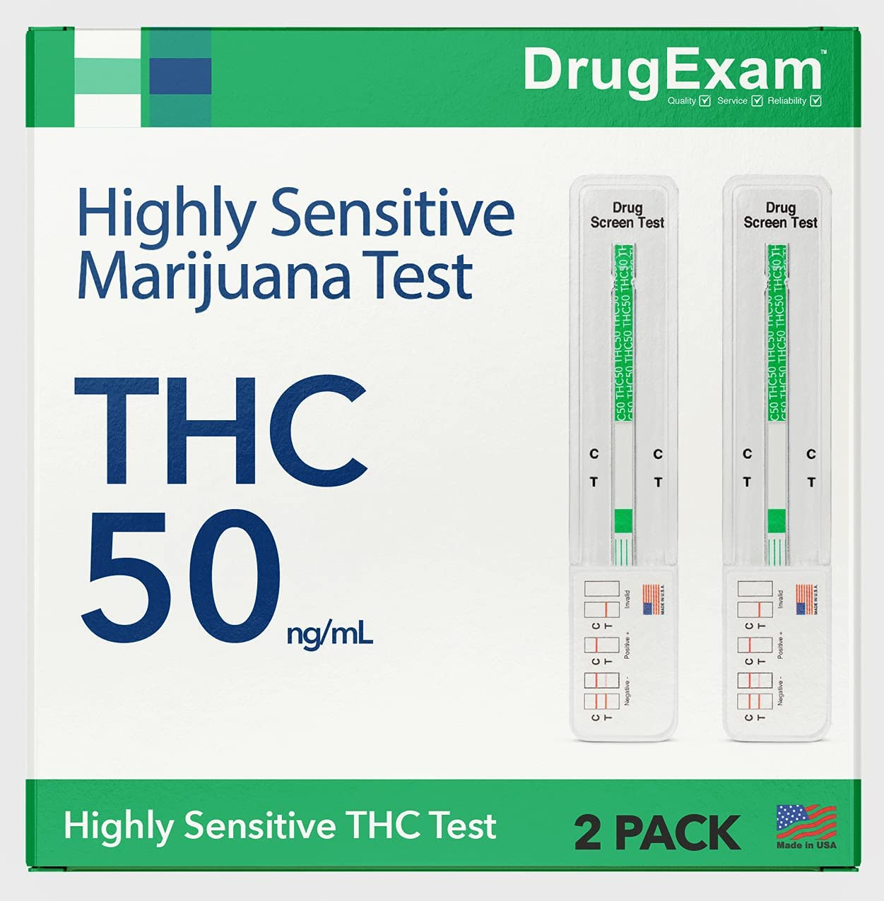 2 Pack - DrugExam Made in USA Highly Sensitive Marijuana THC Single Panel Drug Test Kit - Marijuana Drug Test with 50 ng/mL Cutoff Level for Detecting Any Form of THC in Urine up to 45 Days
