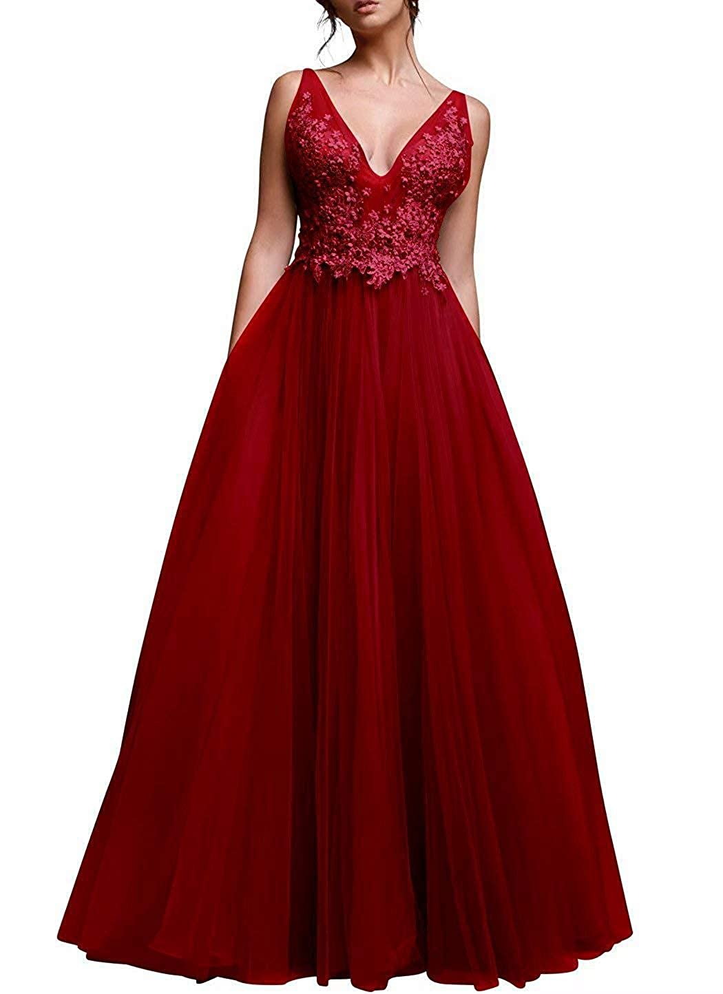 Dark Red Vimans Women's Long Tulle Prom Dresses Aline Beading Bridesmaid Party Dress P09