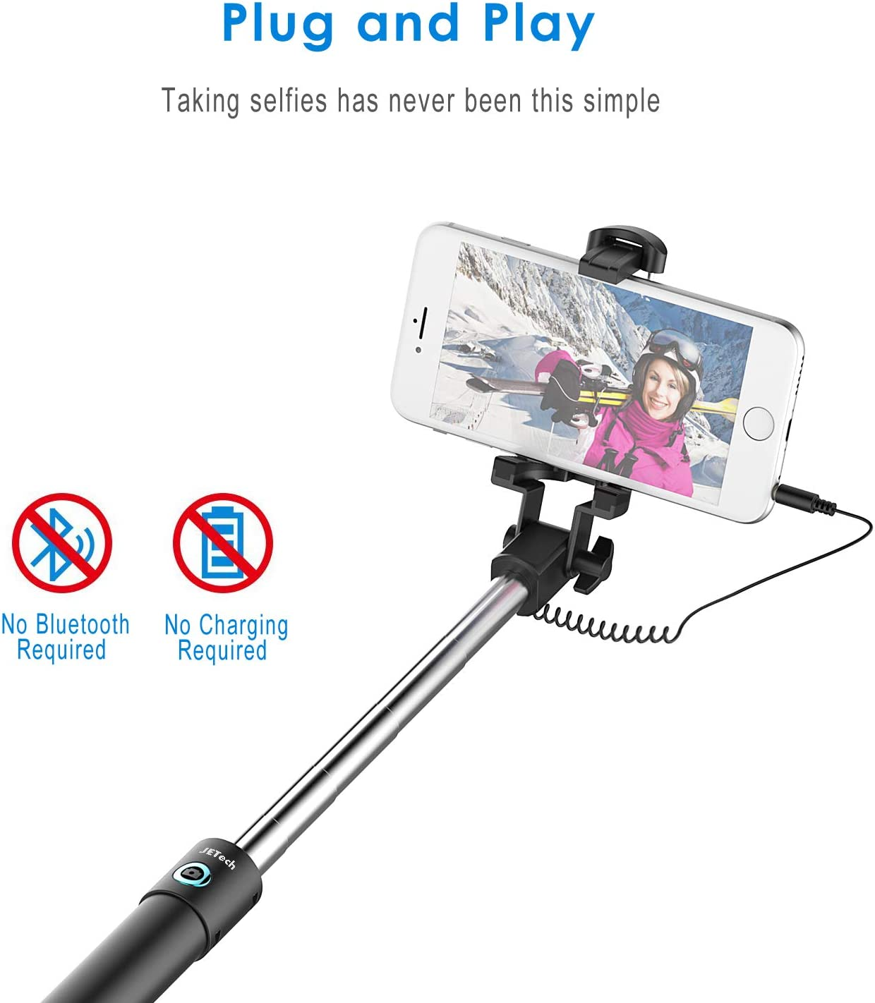 Easy to Carry Wgwioo Wired Cable Controlled Adjustable Selfie Stick