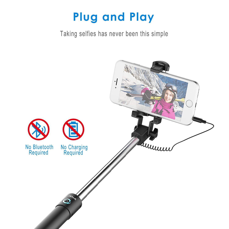 JETech Palo Selfie Stick, Extensible Control de Cable, Inalámbrico ...