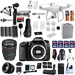 Professional Photographer / Videographer Kit - DJI Phantom 4 + OSMO 4K Starter Kit + Canon 80D DSLR + Canon 24-105mm L USM (Glass Element) Lens + Canon 50mm 1.8 STM Fixed Zoom Video / Portrait Lens
