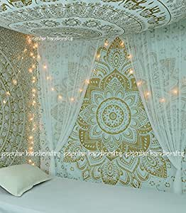 """New Launched Popular Handicrafts Kp643 The Passion Gold Ombre Tapestry Indian Mandala Wall Art, Hippie Wall Hanging, Bohemian Bedspread 84""""x90""""(215x230cms)"""