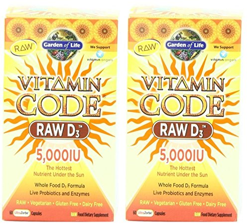 RAW Vitamin D3 Whole Food Vitamin D Complex, Garden of Life Vitamin Code RAW D3 5000, 60 Capsules (60 x 2) RAW Vitamin D3 Whole Food Vitamin D Complex