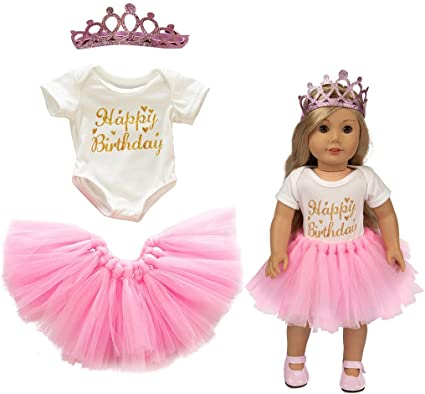 Cute Pink Tulle Dress 1st Birthday Crown Clothes for 18 Inch Baby Girl Doll Gift
