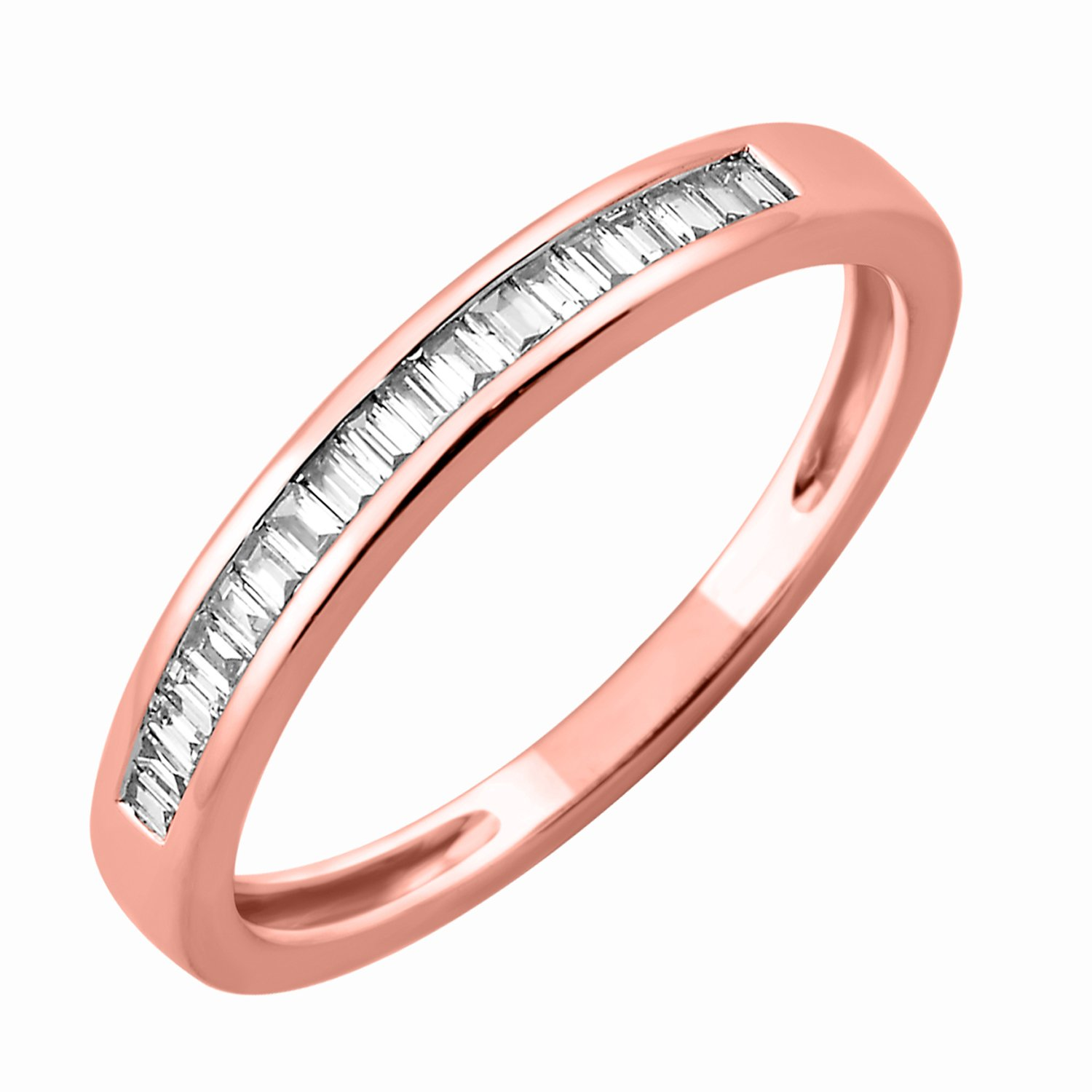 IGI Certified 10k Rose Gold Baguette-cut Diamond Wedding Ring Band (0.15 Carat)